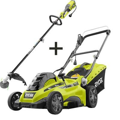 Electric Lawn Mower Push Walk Behind Weed Trimmer Combo Kit