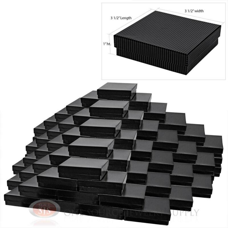 "100 Gift Boxes Black Pinstripe Cotton Filled Jewelry Box 3 1/2"" X 3 1/2"
