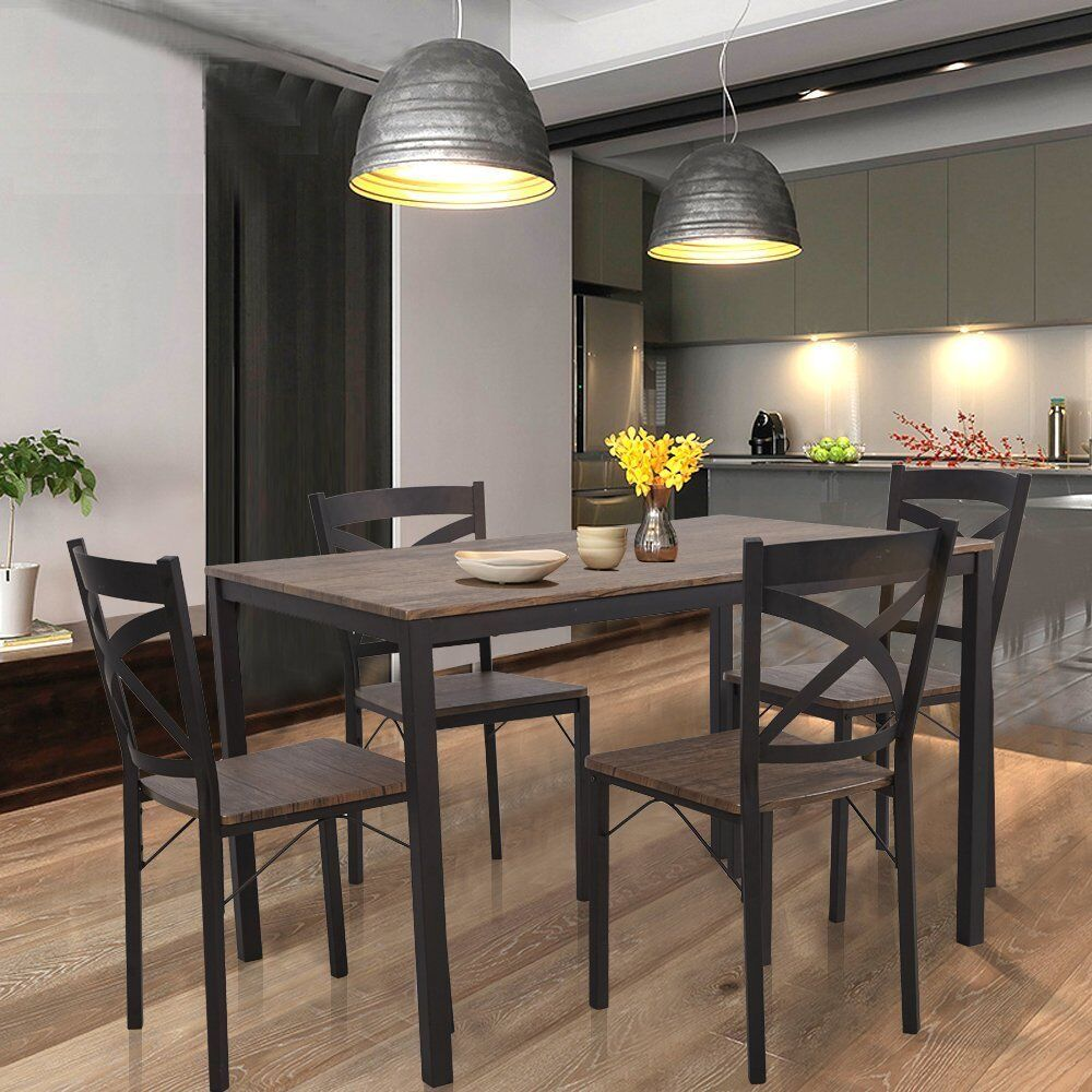 VILOBOS 5PC Wood Dining Table Set 4 Chairs Seat Breakfast Kitchen Home Furniture