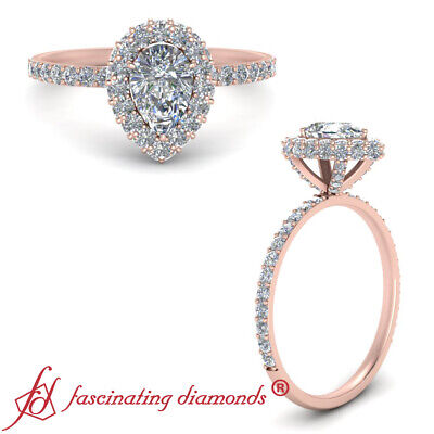 1.25 Carat Pear Shaped Diamond Halo Pink Gold Engagement Ring With Round Accents