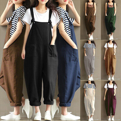 Womens Ladies Loose Dungarees Strappy Oversized Romper Baggy Overalls Jumpsuit