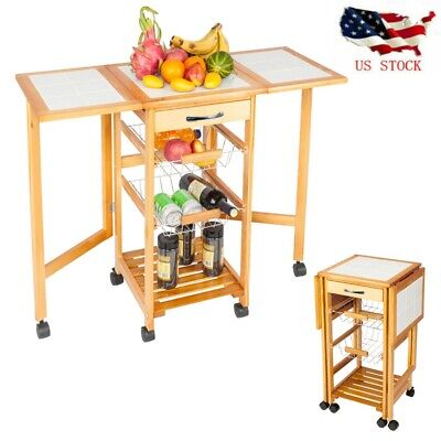 Kitchen Island Cart Rolling Drop Leaf Dining StorageTrolley Folding Table Retro
