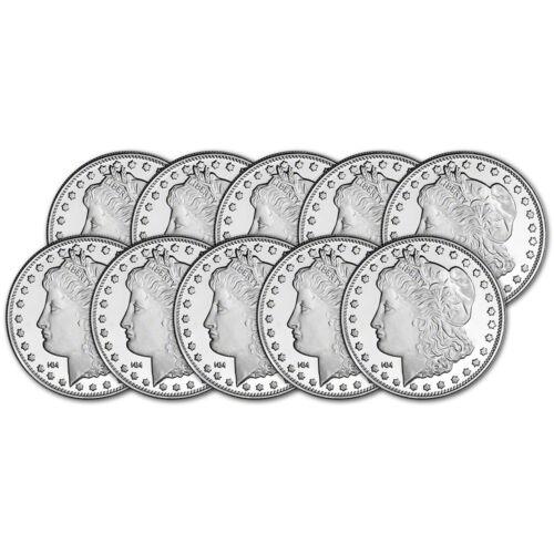 TEN (10) 1 oz. Highland Mint Silver Round Morgan Dollar Design .999 Fine