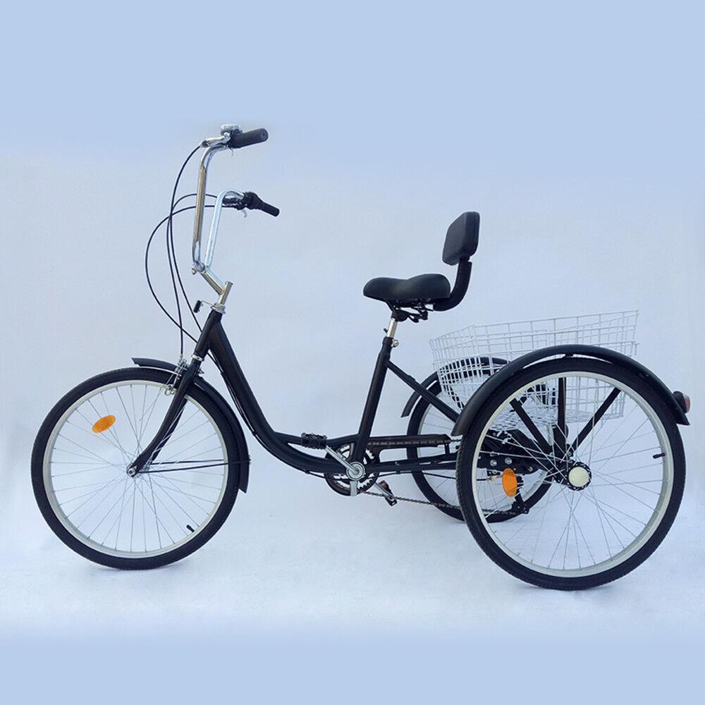 Fahrräder Bike 6 Gänge Fahrrad Erwachsenendreirad mit Korb City Bike Dreirad Damenrad DE