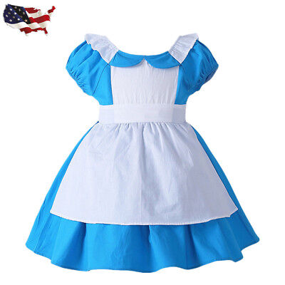 US STOCK! Childrens Girls Blue Storybook Alice in Wonderland Dress Costume