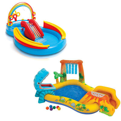 Intex Dinosaur Participate in Center Kiddie Pool & Inflatable Rainbow Ring Water Play