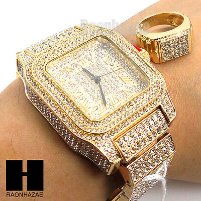 Men Techno Pave BLING ICED OUT WATCH W/ 14K GOLD LAB DIAMOND and RING SET