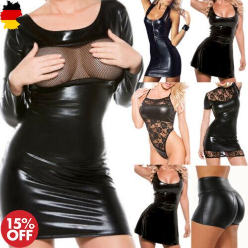 Damen Sexy Lingerie Set Lederkleid Lack Minikleid Clubwear Reizwäsche Babydoll
