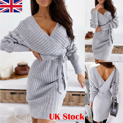 Womens Sexy Backless V Neck Mini Dresses Ladies Lace Up Long Sleeve Knit Sweater