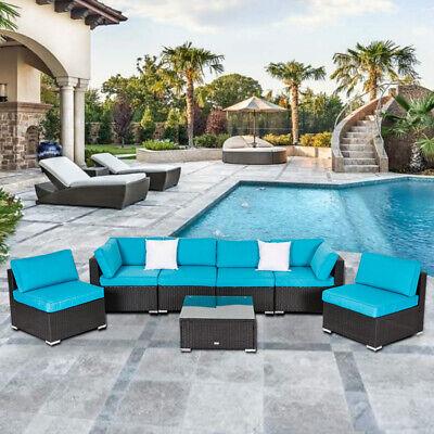 7PC Patio Rattan Wicker Sofa Table Outdoor Garden Sectional
