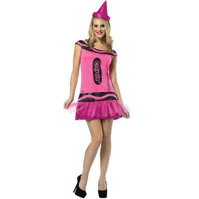 PINK CRAYOLA DRESS COSTUME BLUSH CRAYON WOMENS LADIES FANCY DRESS OUTFIT