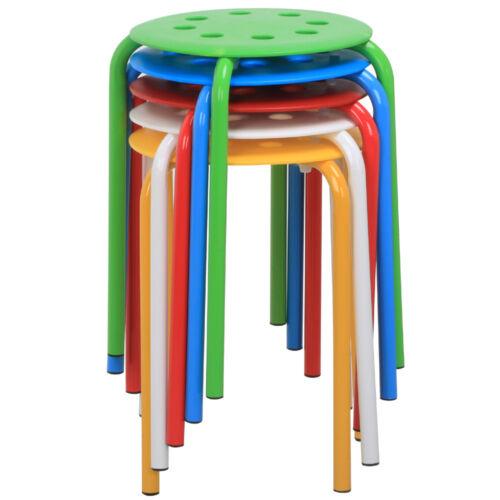 5x Portable Plastic Stack Stools Round Classroom Stools Chai