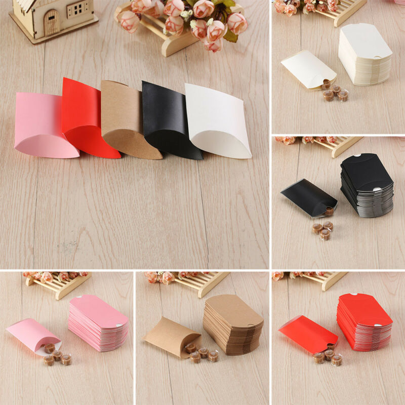 50pcs Craft Paper Bags Pillow Box Gift Cake Bread Candy Wedd