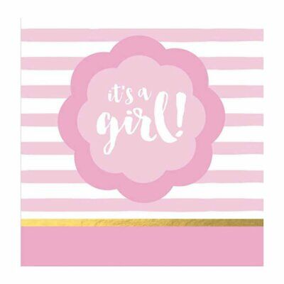 BABY SHOWER LUNCH NAPKINS (16) ~ IT'S A GIRL Pink White Stripes Party Supplies Baby Shower Lunch Napkins