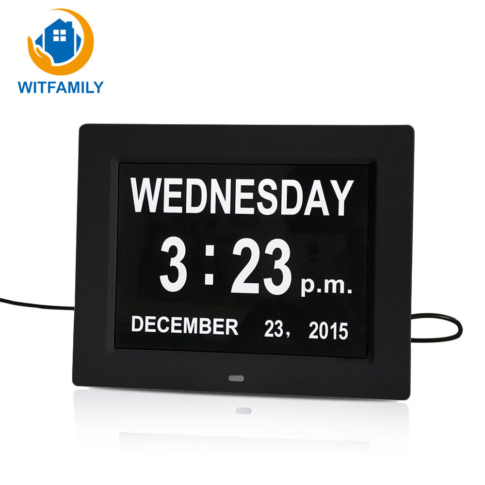 Digital Calendar Day Clock Alarm LCD Display Large Time with Date