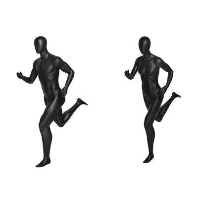 Male And Female Full Body Running Sports Athletic Mannequin Set - Matte Black