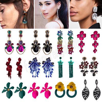 Women Fashion Bohemian Crystal Flower Long Tassels Earrings Dangle Drop Jewelry - Flower Dangling Crystal
