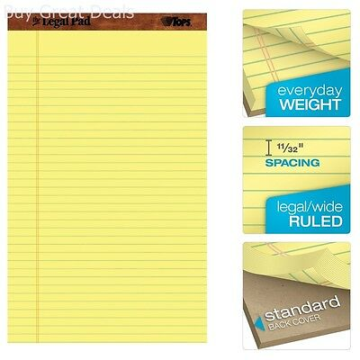 Tops 12-pack 50-sheets 8-12x14-inch Canary Yellow Wide Rule Writing Legal Pad