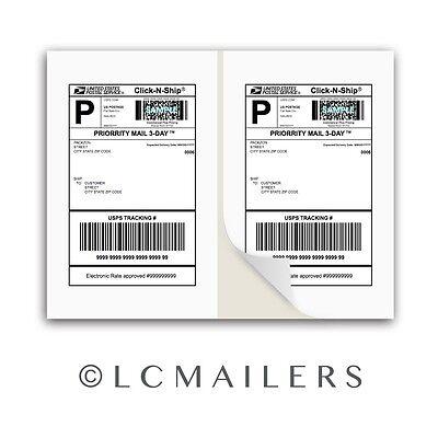 1000 Shipping Labels 8.5x5.5 Square Corner Self Adhesive 2 Per Sheet Packzon