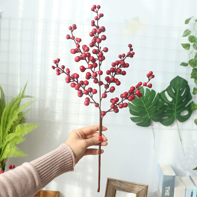 New Year Home Decor Branch Berry Artificial Flower Beauty Flower Christmas K7S5