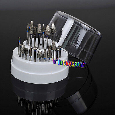 20dental Lab Assorted Diamond Burs Drill1dental Plastic Holder Block 60 Holes