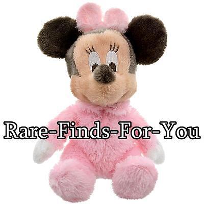 "Disney Parks Baby Minnie Mouse Premium Super-Soft Rattle Plush Doll Toy 9"" (NEW)"