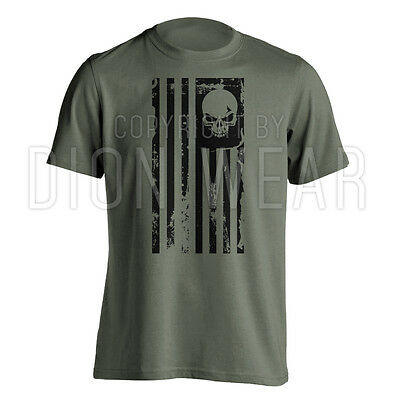 American Flag Skull Punisher Legend Sniper Military USA Army Shirt S M L XL 2XL (Punisher Shirt)