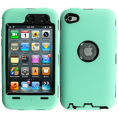 For iPod Touch 4th Gen 4G Hybrid Case+Built in Screen Protector Mint Green Black