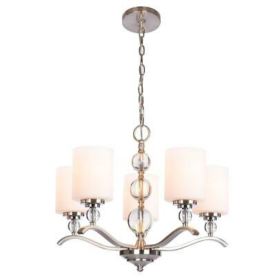 Hampton Bay Laurel Hill 5-Light Brushed Nickel Chandelier with Opal Glass covid 19 (Nickel Chandeliers White Metals coronavirus)