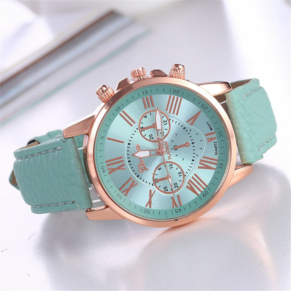 New Fashion Geneva Women Leather Band Stainless Steel Quartz Analog Wrist Watch