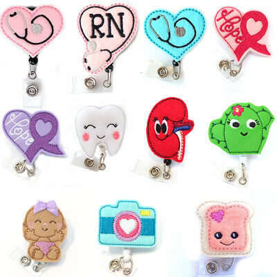 wholesale Heart Shape cancer ribbon Nurse Felt Retractable ID Badge Holder Reel