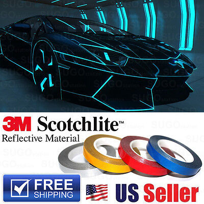 Blue Reflective Safety Conspicuity Warning Tape DIY Sticker Decal 1CMx150FT Roll