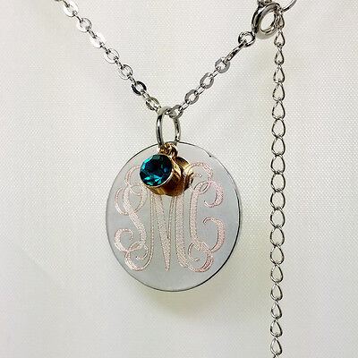 Monogram  Personalized Circle Necklace 925 Sterling Silver