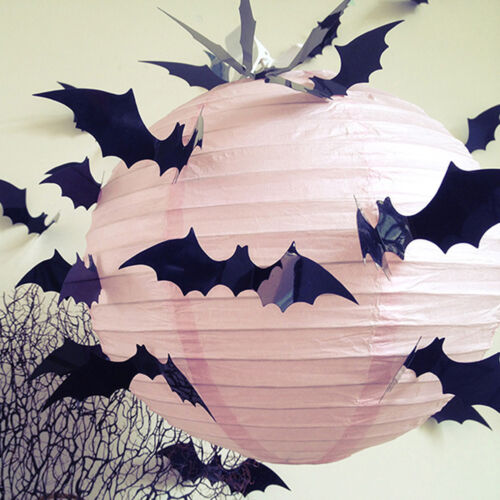 Home Decoration - 12/24X Halloween Party Decorations Props 3D Bat Vampire Wall Window Stickers PVC
