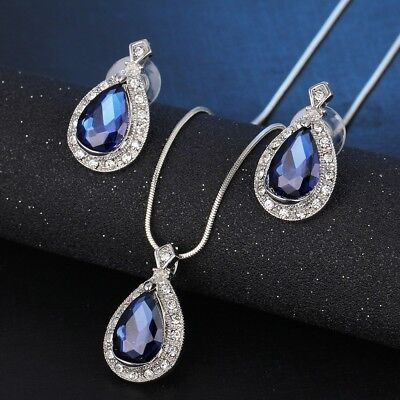 Blue Sapphire Teardrop Necklace & Earring Set Silver Toned with CZ Crystals NEW