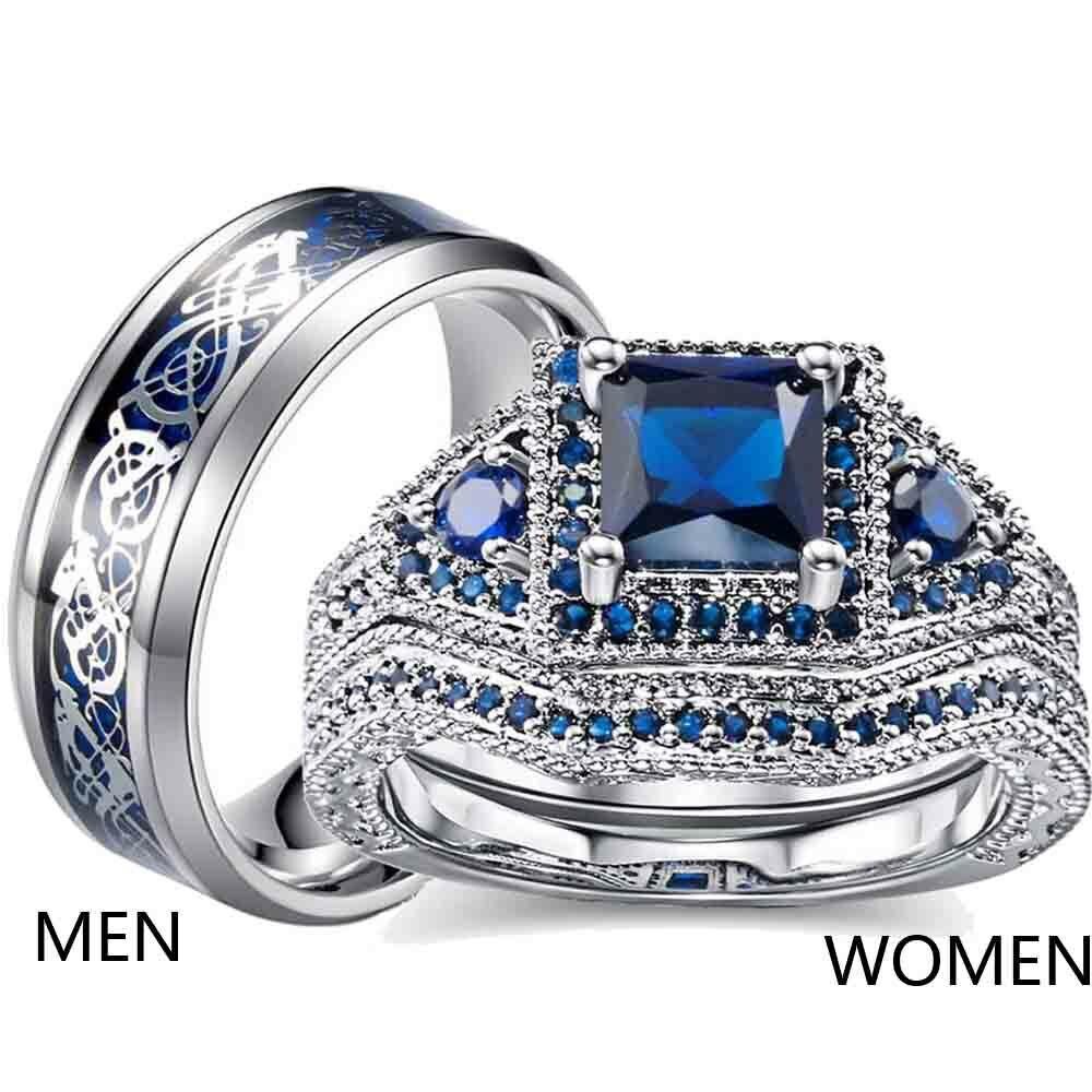 Couple Rings Titanium Steel Mens Wedding Band Blue Cz Womens