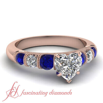 1 Carat Heart Shaped Diamond And Sapphire Milgrain Engagement Ring In Rose Gold