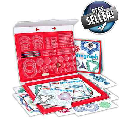 New Super Spirograph Kit Kahootz Design Art Deluxe Drawing Toy Set Original Game