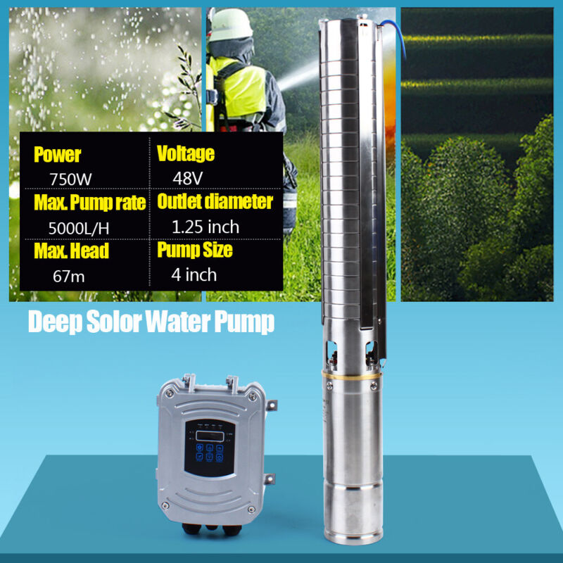 """4"""" DC Deep Well Solar Water Pump 48V 750W Submersible MPPT Controller 5,000L/H"""