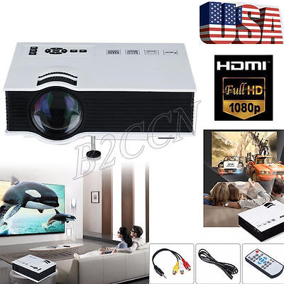 6000 LUMENS 3D FULL 1080P HD HOME THEATER MULTIMEDIA USB HDMI LCD LED PROJECTOR