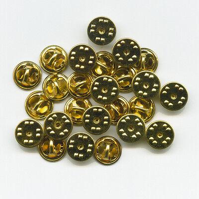 100 neue goldfarbene Verschlüsse Butterfly Clips für Metall Pin Anstecker