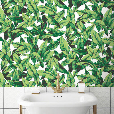 Roommates Palm Leaf Botanical Tropical Green Boho Peel and Stick Wallpaper DIY Roommates Peel And Stick