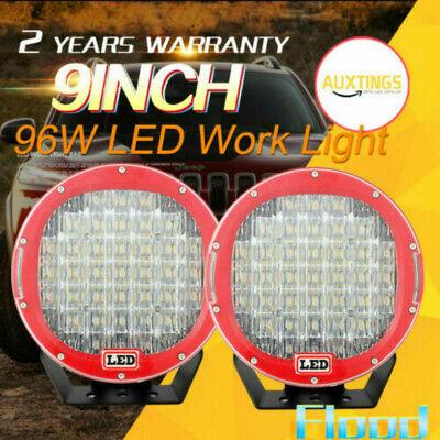 2PCS 96W Round Cree LED Driving Spot Lights UTE TRUCK SUV ATV OffRoad 9inch