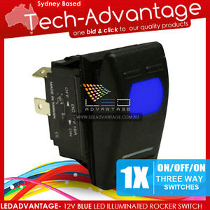 12V BLUE LED THREE WAY 3-WAY ON/OFF/ON ROCKER SWITCH - BOAT/CARAVAN/LANDCRUISER