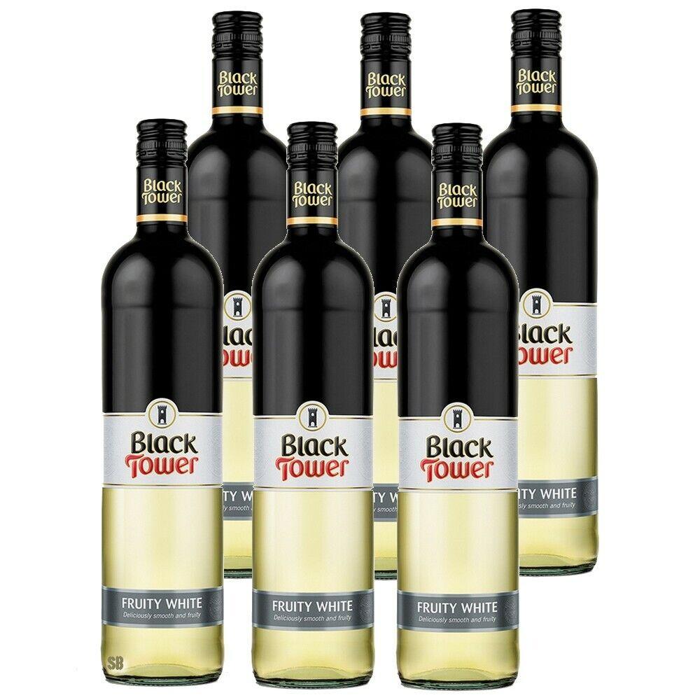 6 Black Tower Fruity White fruchtig lieblicher Weißwein 9,5% vol 6 x 75cl