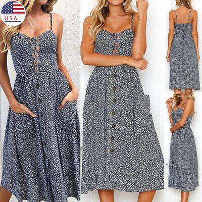 ✅Women Boho Floral Long Maxi Dress Cocktail Party Holiday Summer Beach Sundress