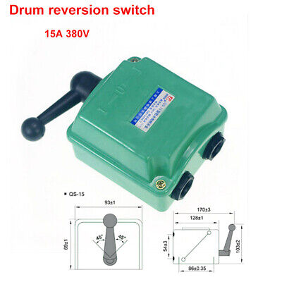 15a 380v Drum Switch Forwardoffreverse Motor Control Rain-proof Reversing New