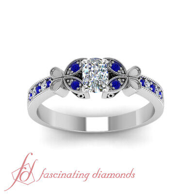 1 Carat Cushion Cut Diamond And Sapphire Milgrain Pave Engagement Ring For Women 1