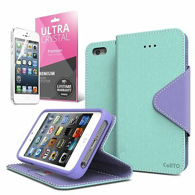 Mint / Purple Apple iPhone 5 / 5S Wallet Case; Best Design with Coolest Premium (Best Apple Case 5s)