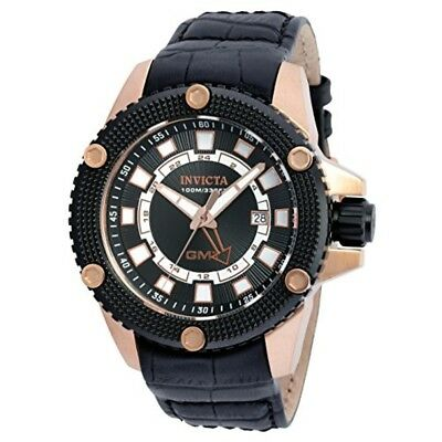 Invicta Men's 48mm Speedway GMT Date Leather Strap Stainless Steel Watch 19305